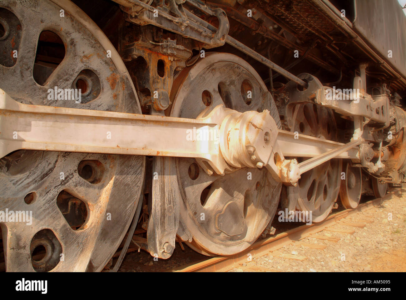 old antique steam train wheels - Stock Image