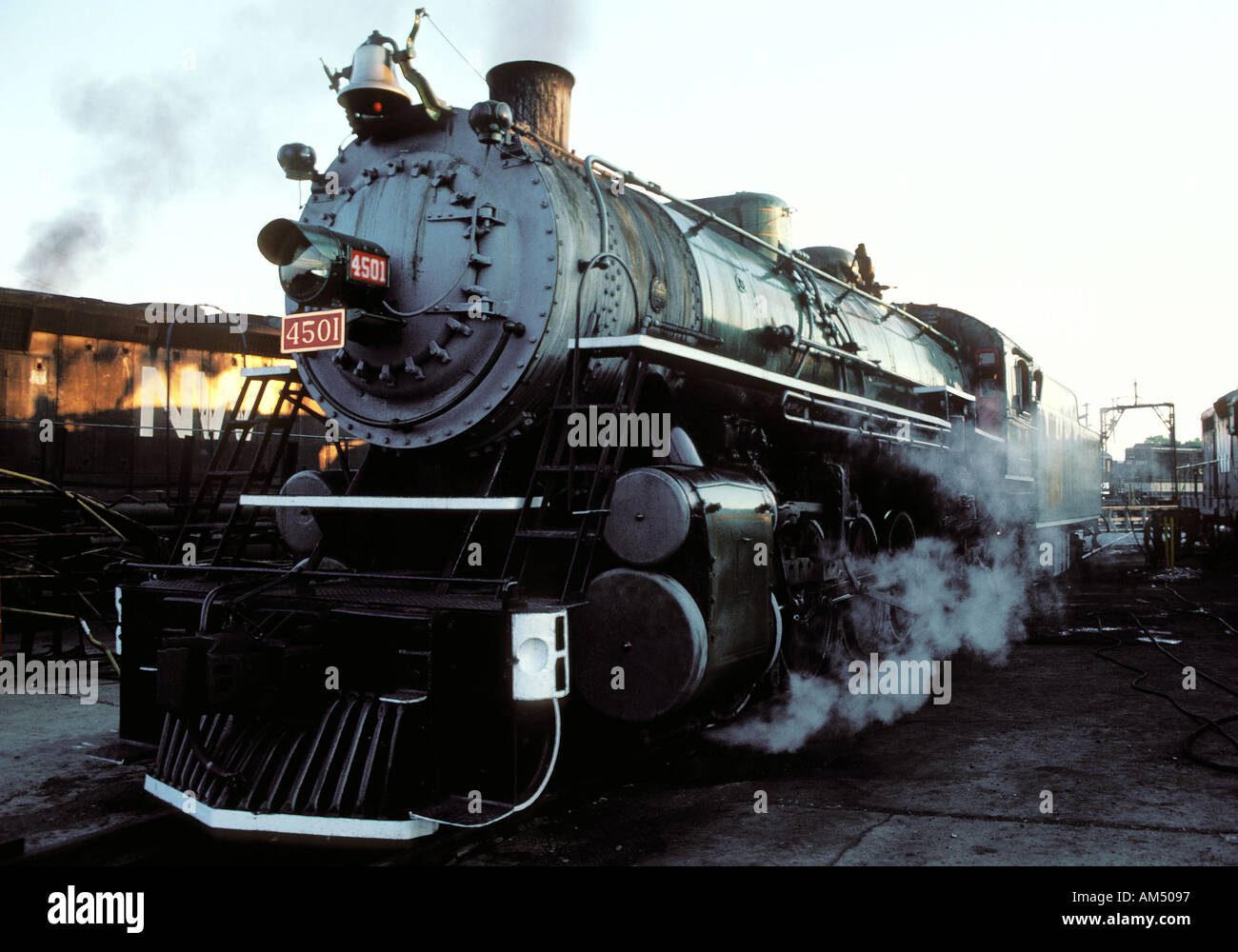 old antique steam train - Stock Image