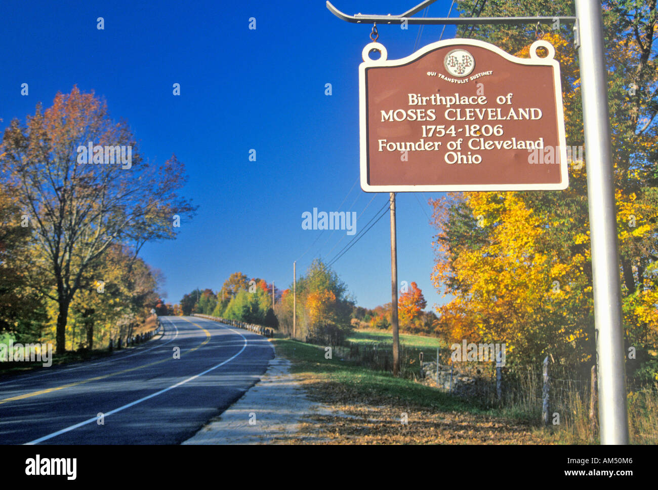 Birthplace of Moses Cleveland along scenic Route 109 north of Canterbury Connecticut - Stock Image
