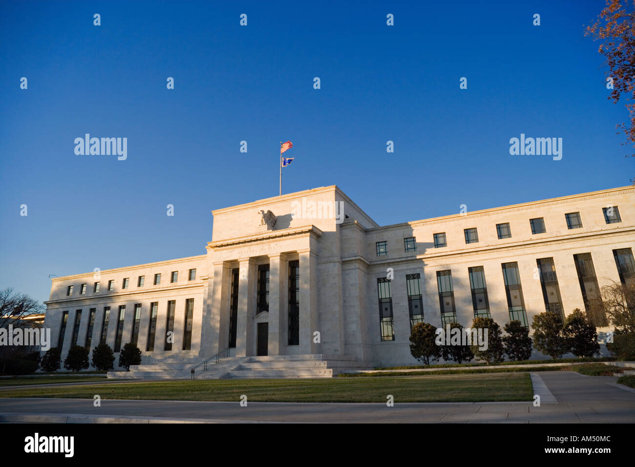 The Fed, Federal Reserve Bank, Washington DC. Main entrance on Constitution Avenue near the National Mall. - Stock Image