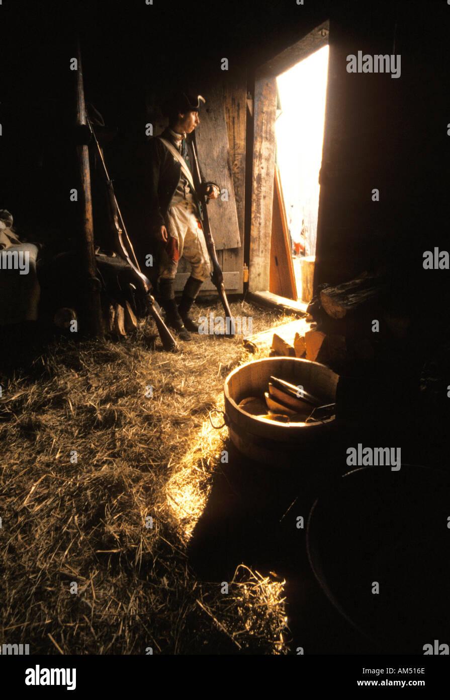 revolutionary war soldier reenactor - Stock Image