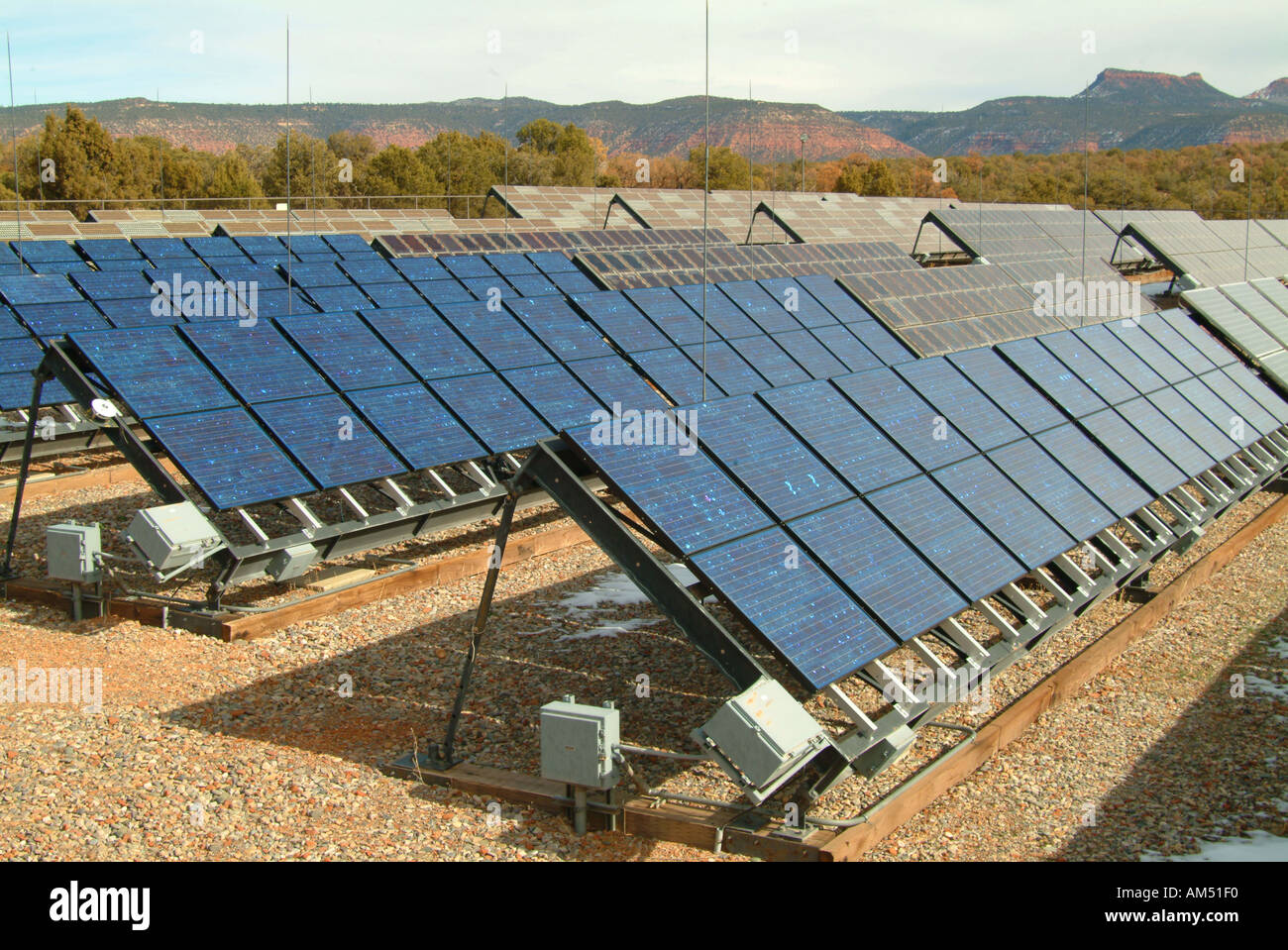 A large array of Photo Voltaic Solar Panels - Stock Image