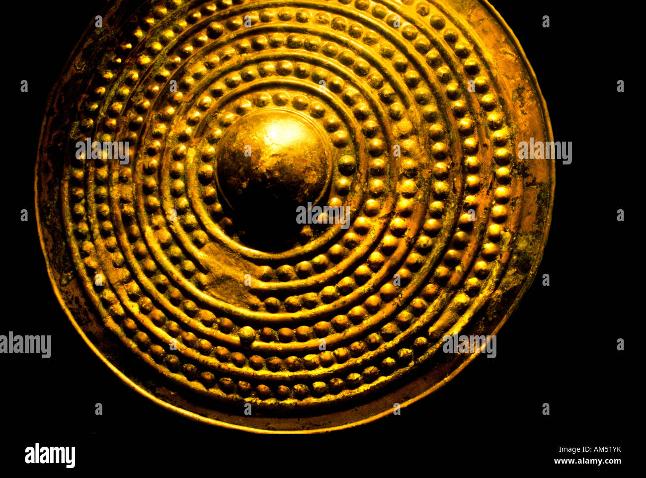 Dublin Ireland museum buckler shield escutcheon Middle Ages Stock Photo