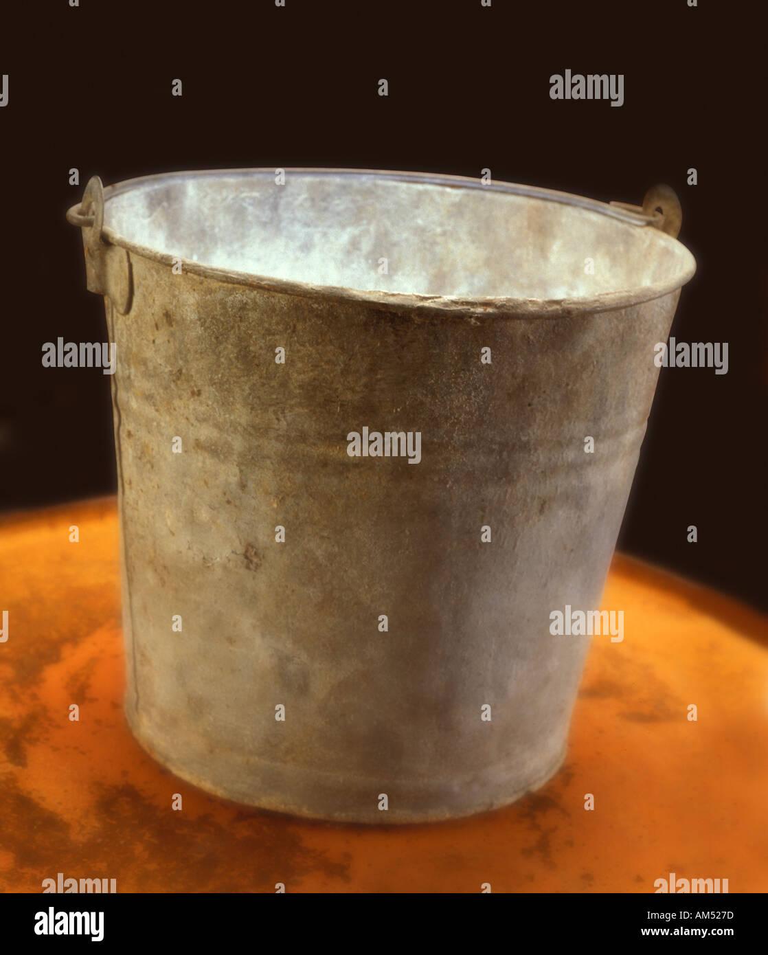 Old corroded galvanized Tin Bucket Stock Photo