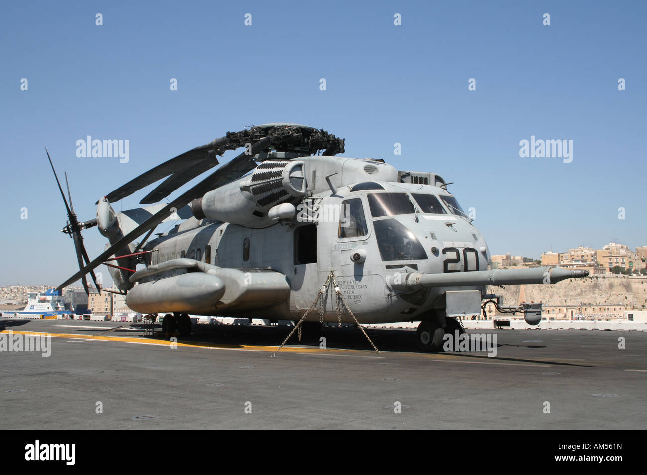 A Sikorsky CH-53E Super Stallion helicopter operated by the US Marines on board the amphibious assault ship USS - Stock Image
