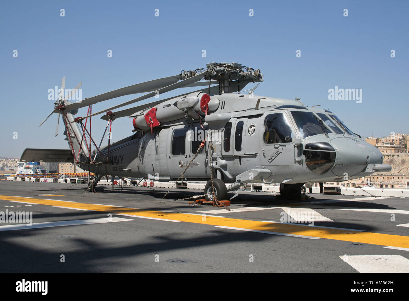 US Navy Sikorsky MH-60S Knighthawk helicopter on board the amphibious assault ship USS Kearsarge - Stock Image