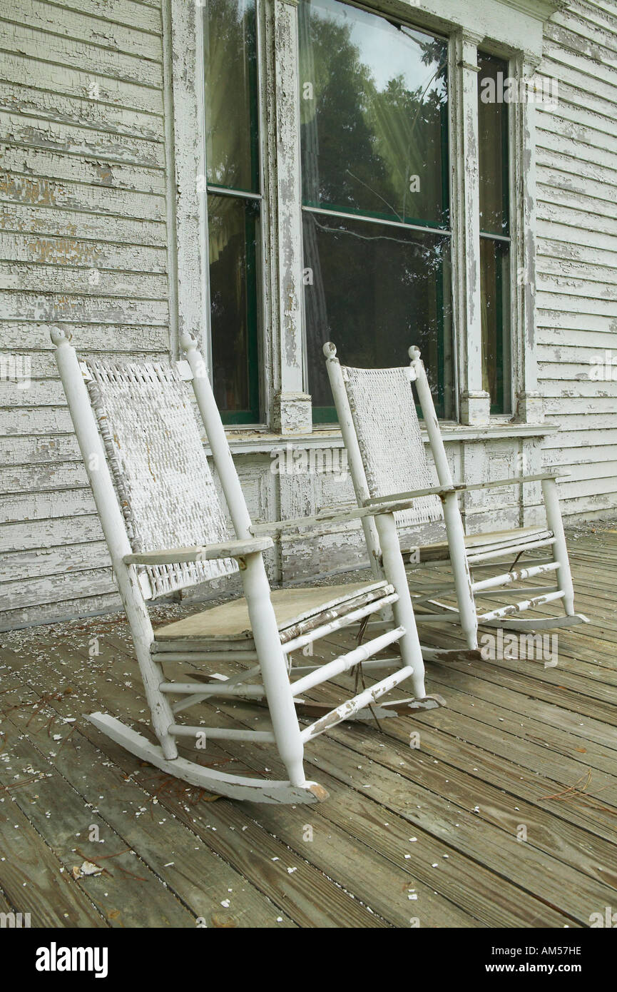 Outstanding Rocking Chairs On Porch Of Southern House In Disrepair Along Gmtry Best Dining Table And Chair Ideas Images Gmtryco
