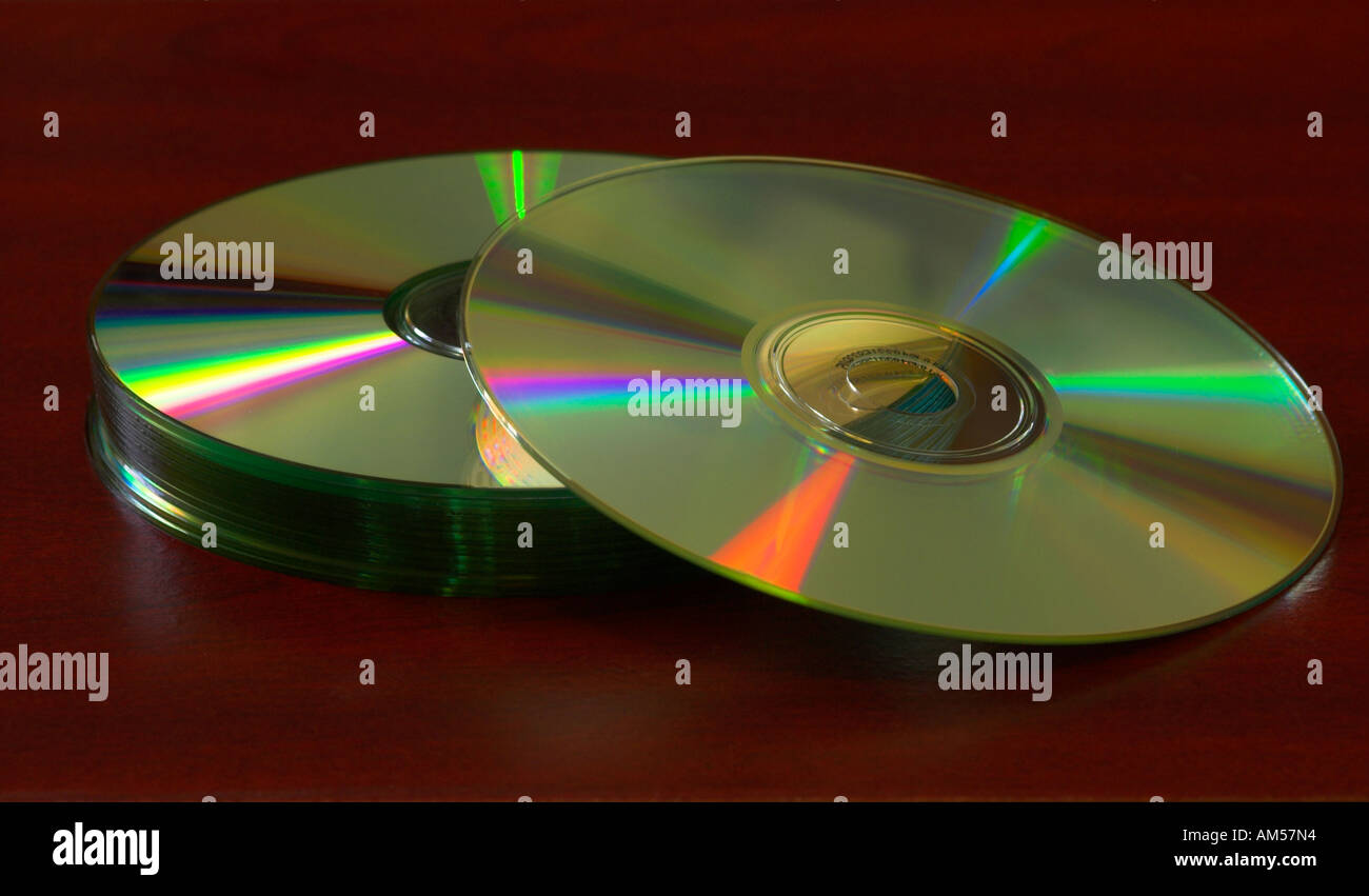 Macro of blank CD s reflecting light - Stock Image
