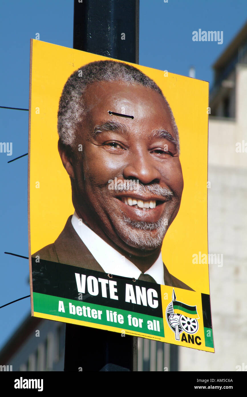 Cape Town South Africa RSA Elections Vote ANC Poster Thabo Mbeki African National Congress party - Stock Image