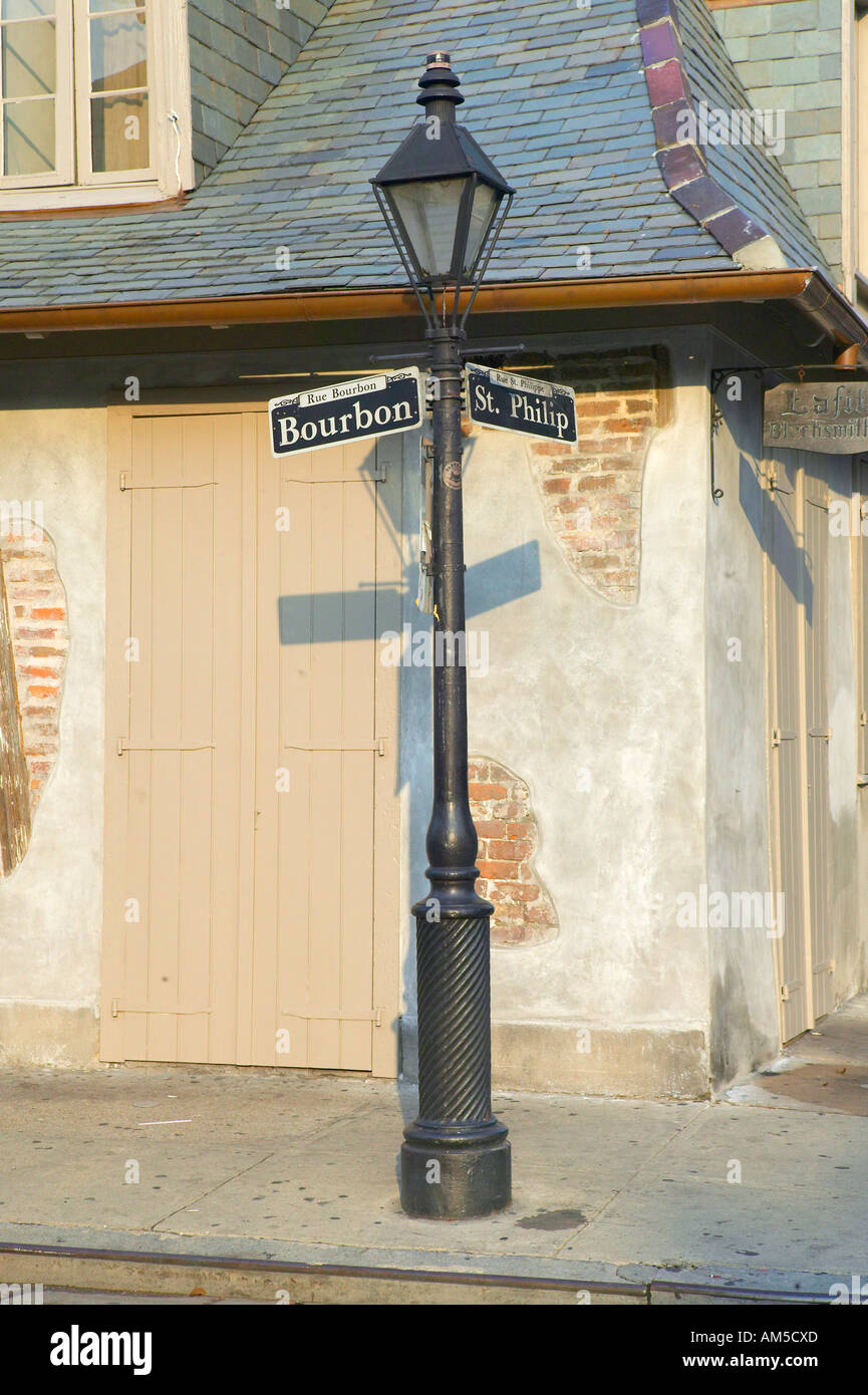 Bourbon Street And Lamp Post In French Quarter Of New Orleans La