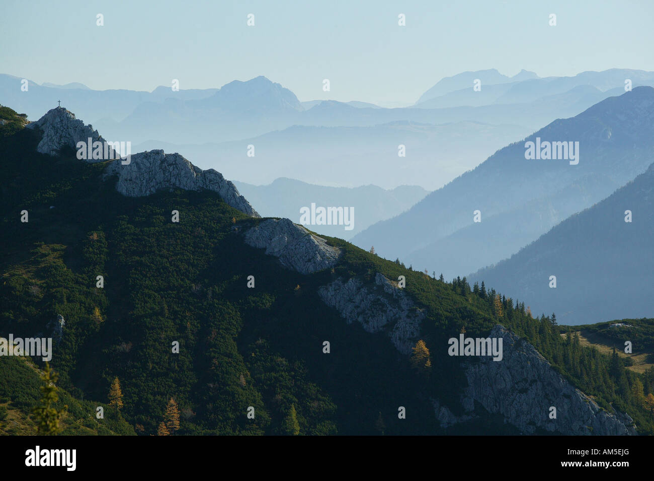 View from Jenner mountain into Salzburger Land (Salzburg State), Berchtesgaden, Upper Bavaria, Germany Stock Photo