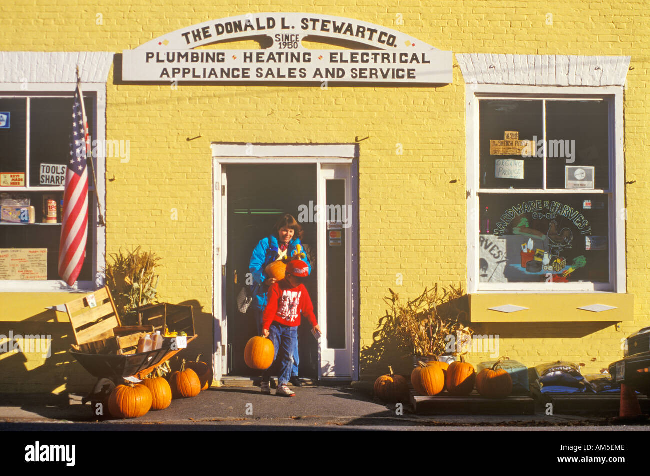 Exterior of appliance store at Halloween in Castine ME - Stock Image