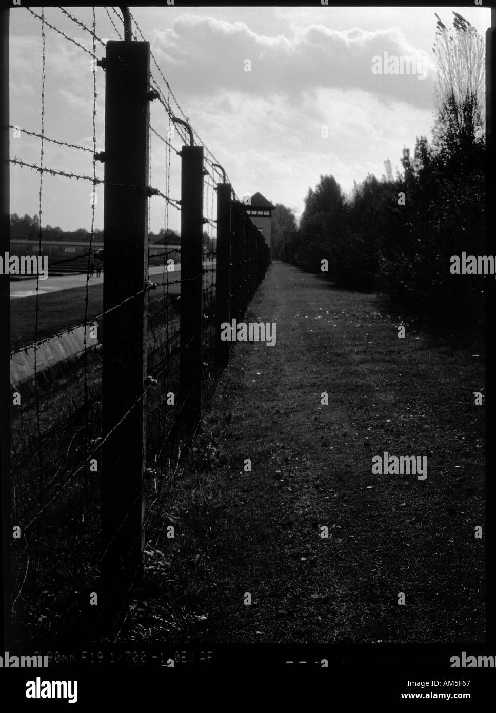 Fence at Dachau - Stock Image