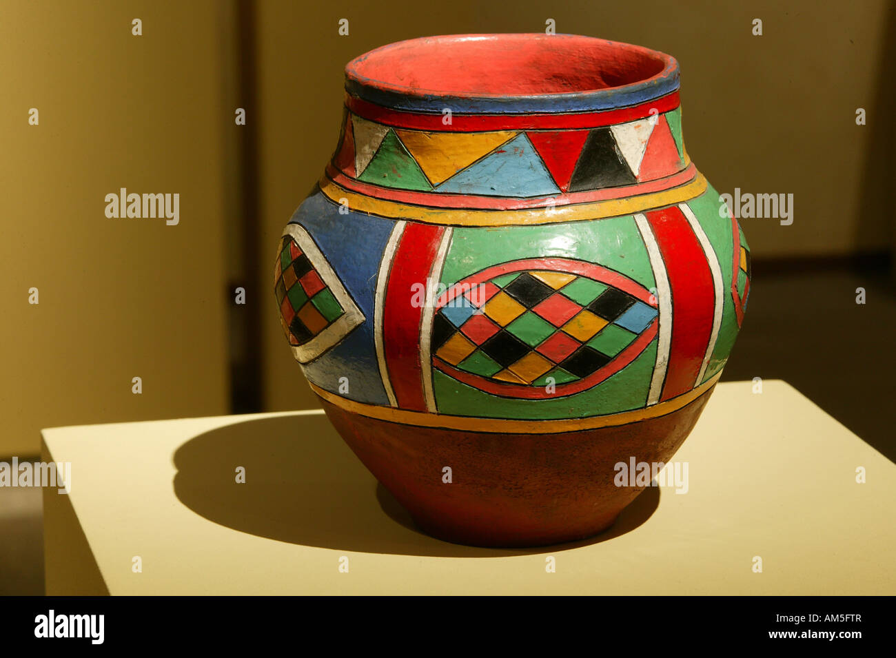 Clay jug for storing beer, from Sotho, Limpopo Provine, National-Culture-Museum, Pretoria, South Africa - Stock Image