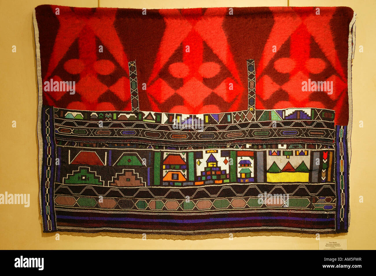 Ceremonial loincloth, leather embroidered with pearls, National-Culture-Museum, Pretoria, South Afica - Stock Image