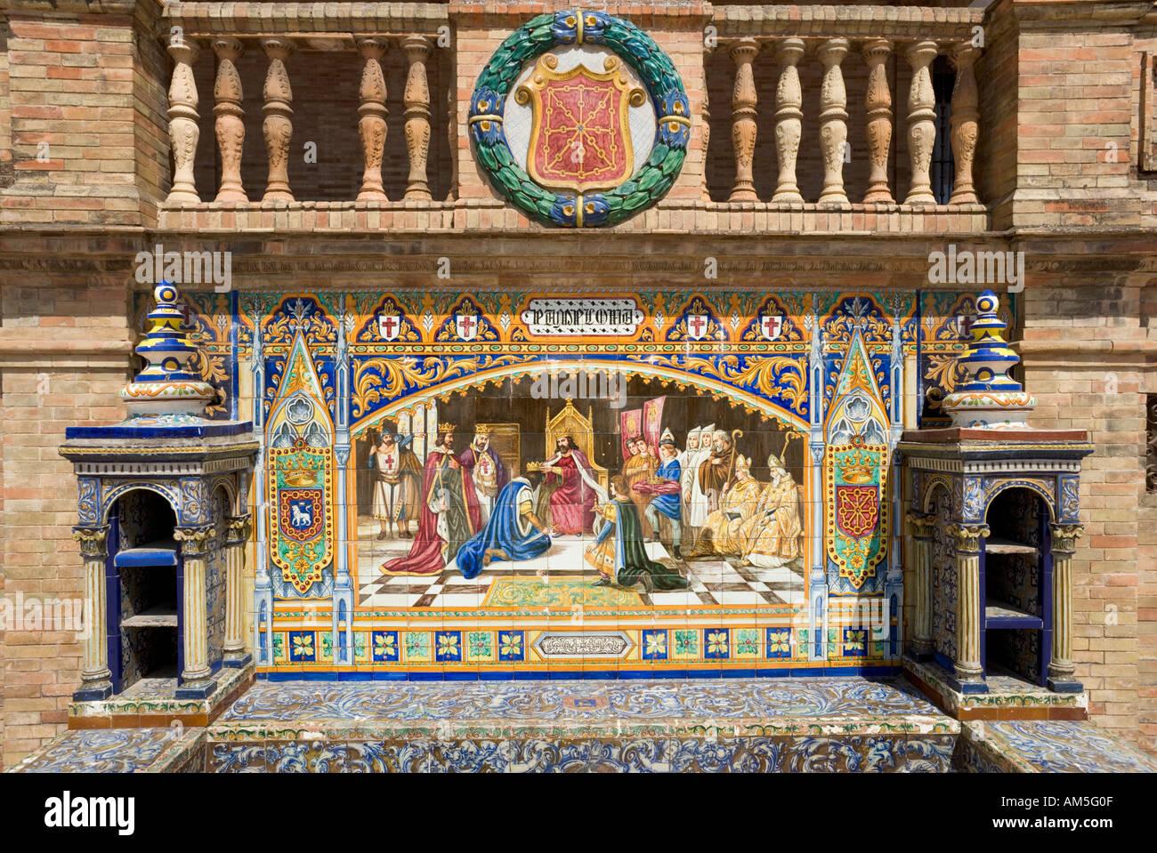 Tiled Mural of Pamplona, Plaza de Espana, Maria Luisa Park, Seville, Andalucia, Spain - Stock Image