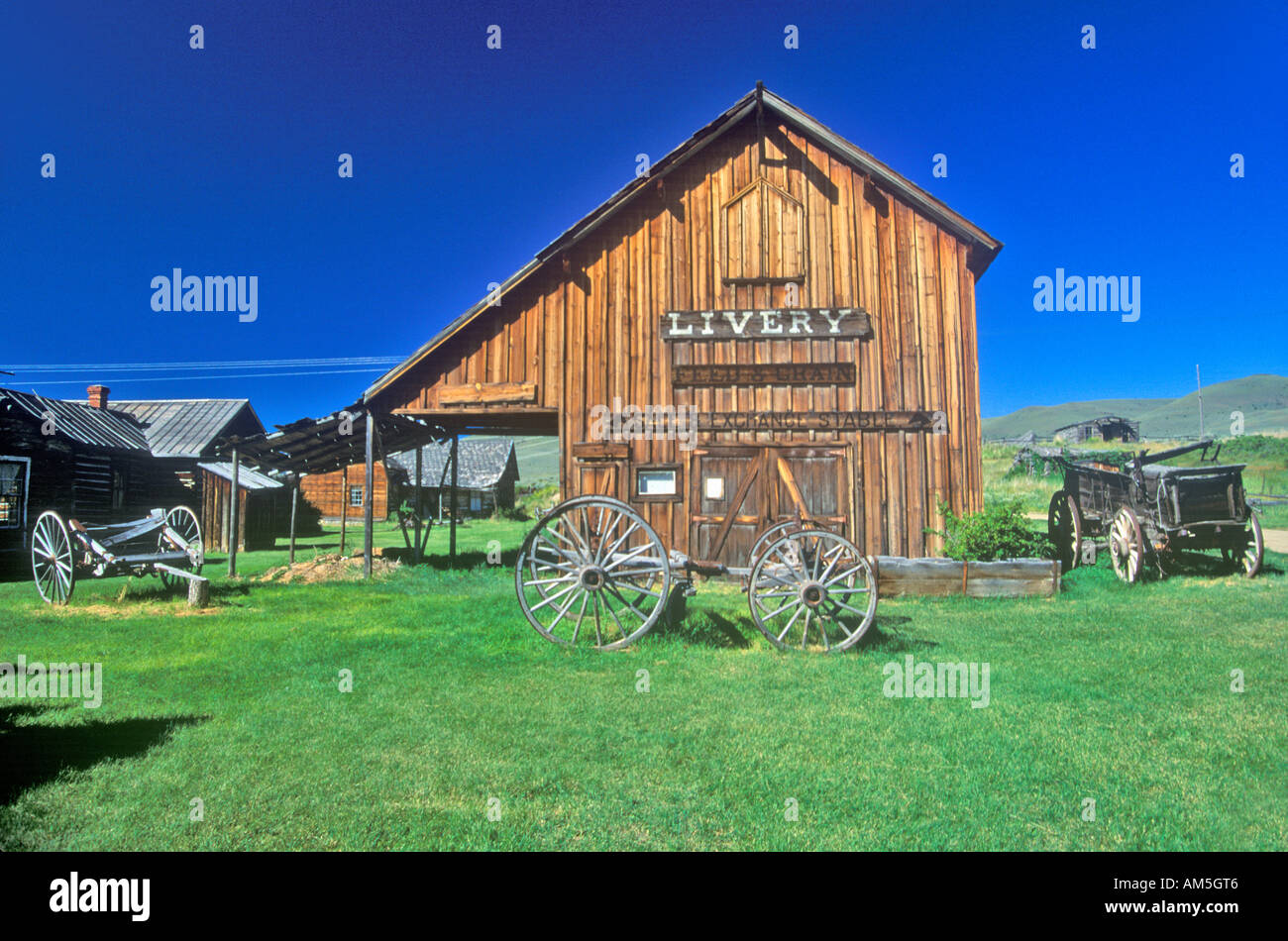 Livery barn in the Ghost Town near Virginia City MT - Stock Image