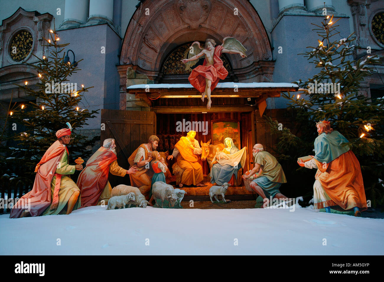 Crib in front of St Anne Basilica, Altoetting, Upper Bavaria, Germany Stock Photo