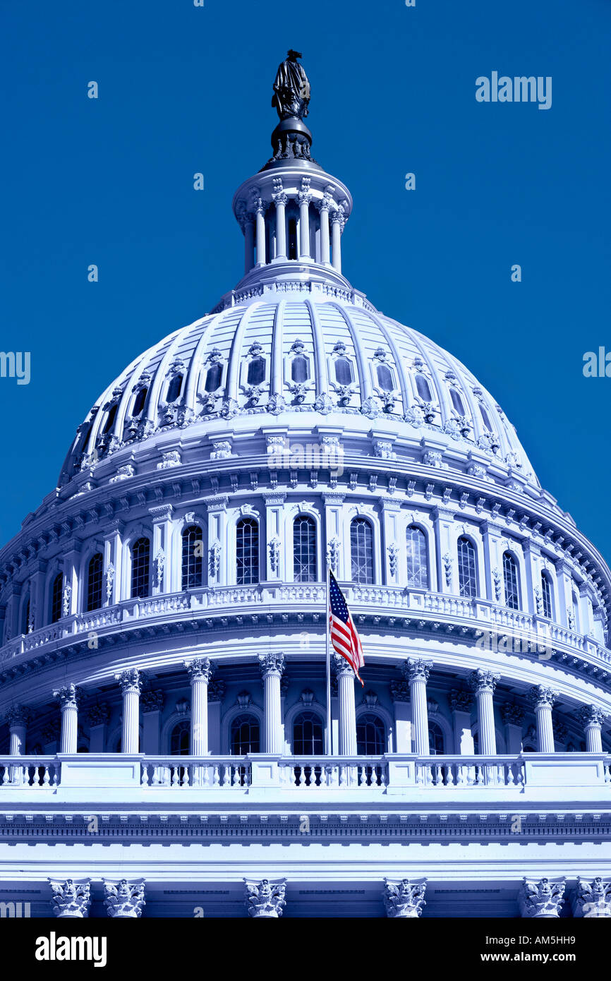 Blue colored US Capitol building in Washington DC In America the color blue is a symbol for the liberal Democratic Stock Photo