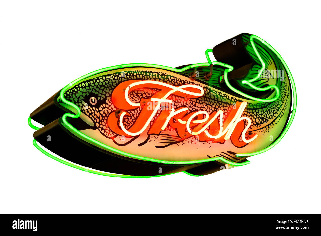 Seattle Pike's Place Market. Cutout neon sign Fresh Fish fresh salmon sign at Pike's fish market. cut out cutout isolated. - Stock Image