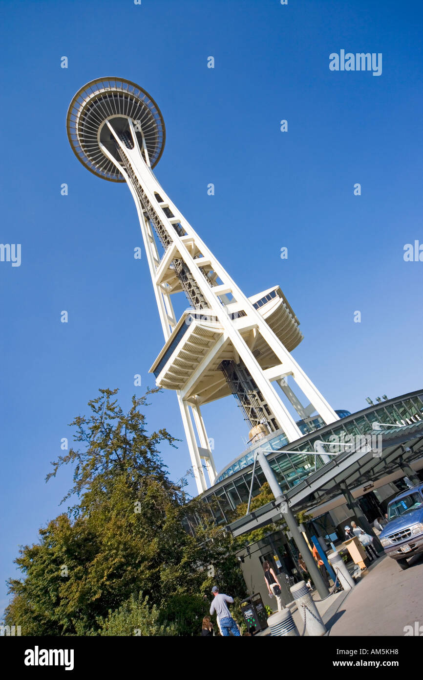 Seattle Space Needle. Main entrance, looking up. - Stock Image