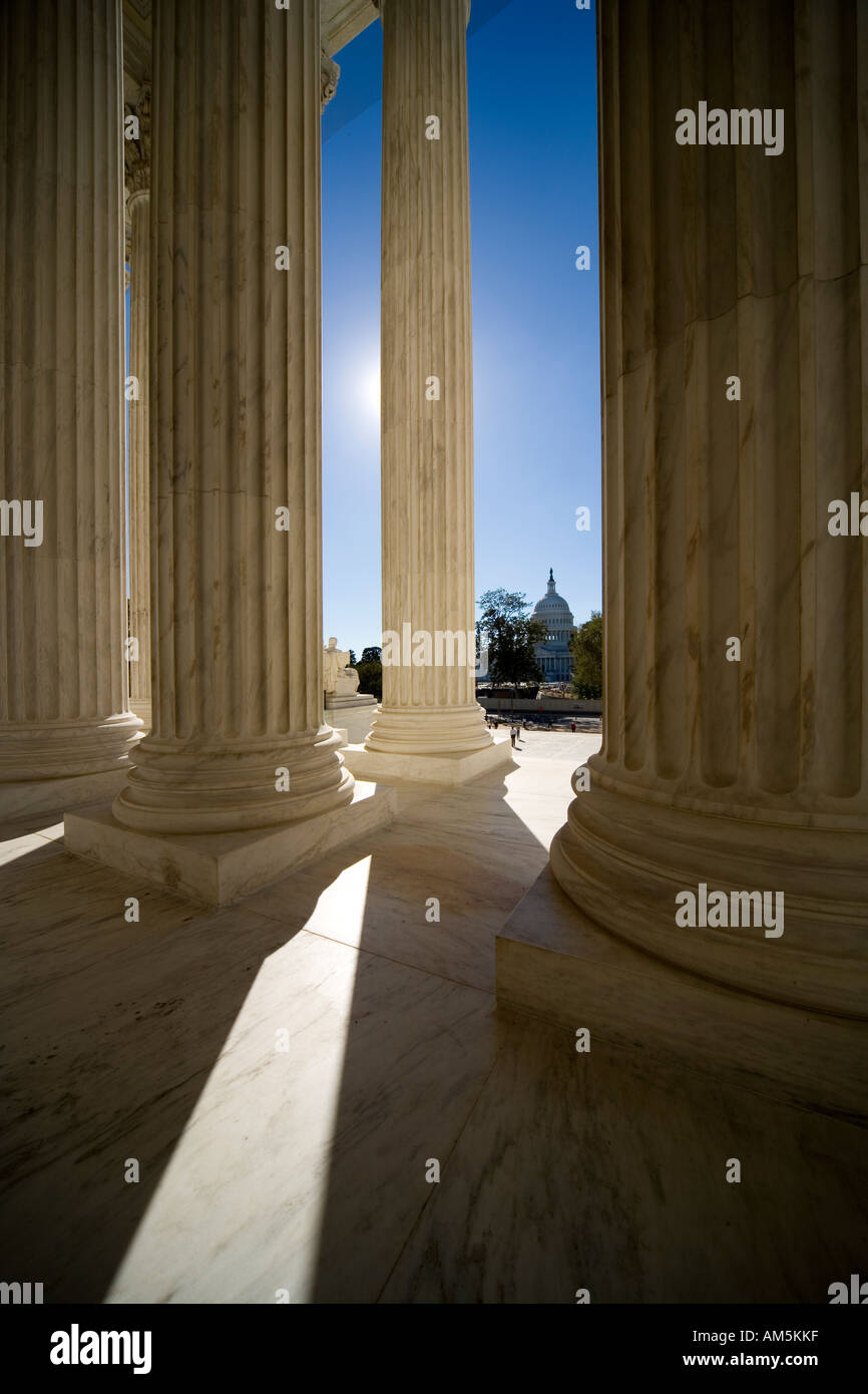 Looking at the US Capitol Building from the main entrance of the U.S. Supreme Court Building. - Stock Image