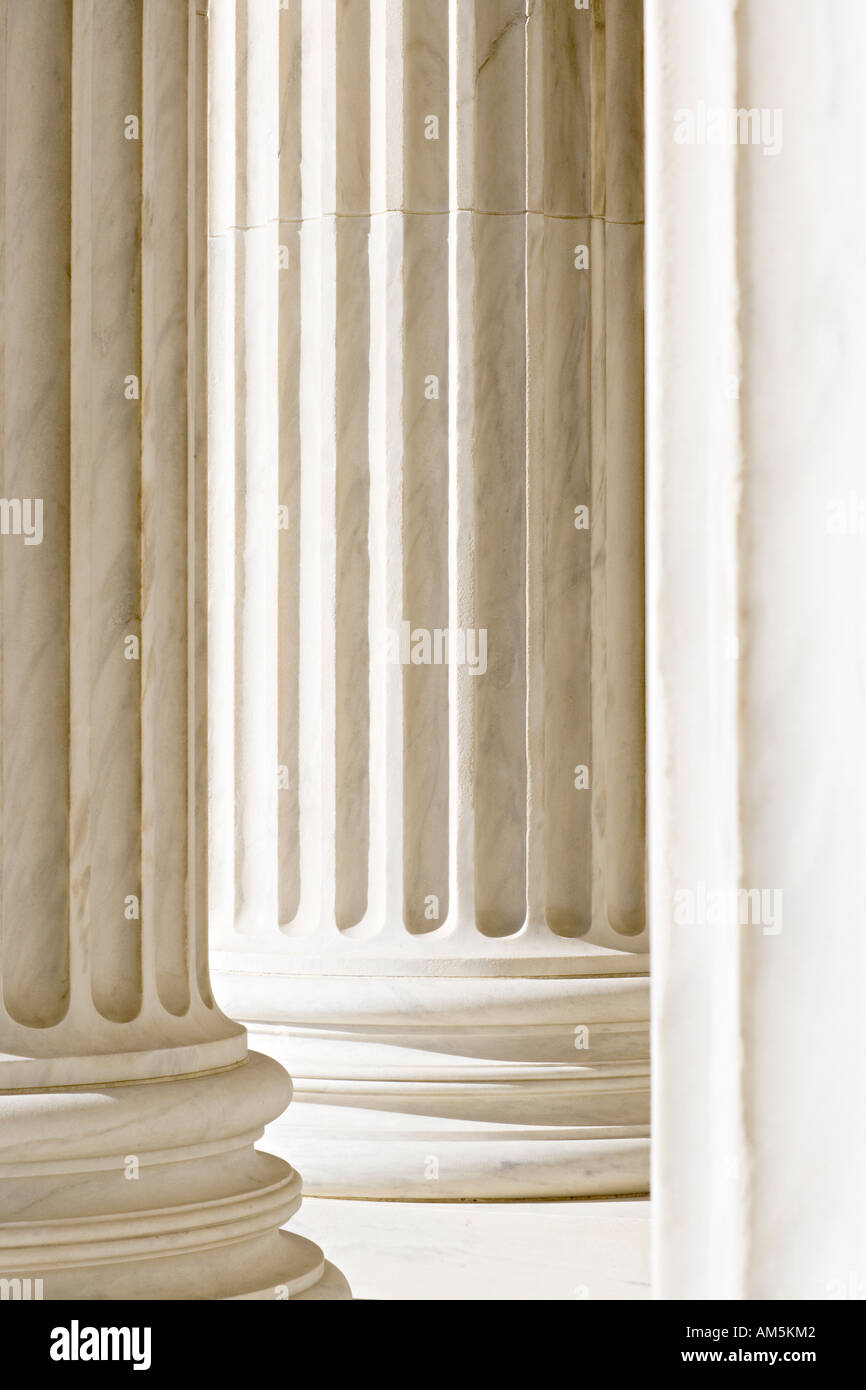 White marble columns of the U.S. Supreme Court Building in Washington D.C. - Stock Image