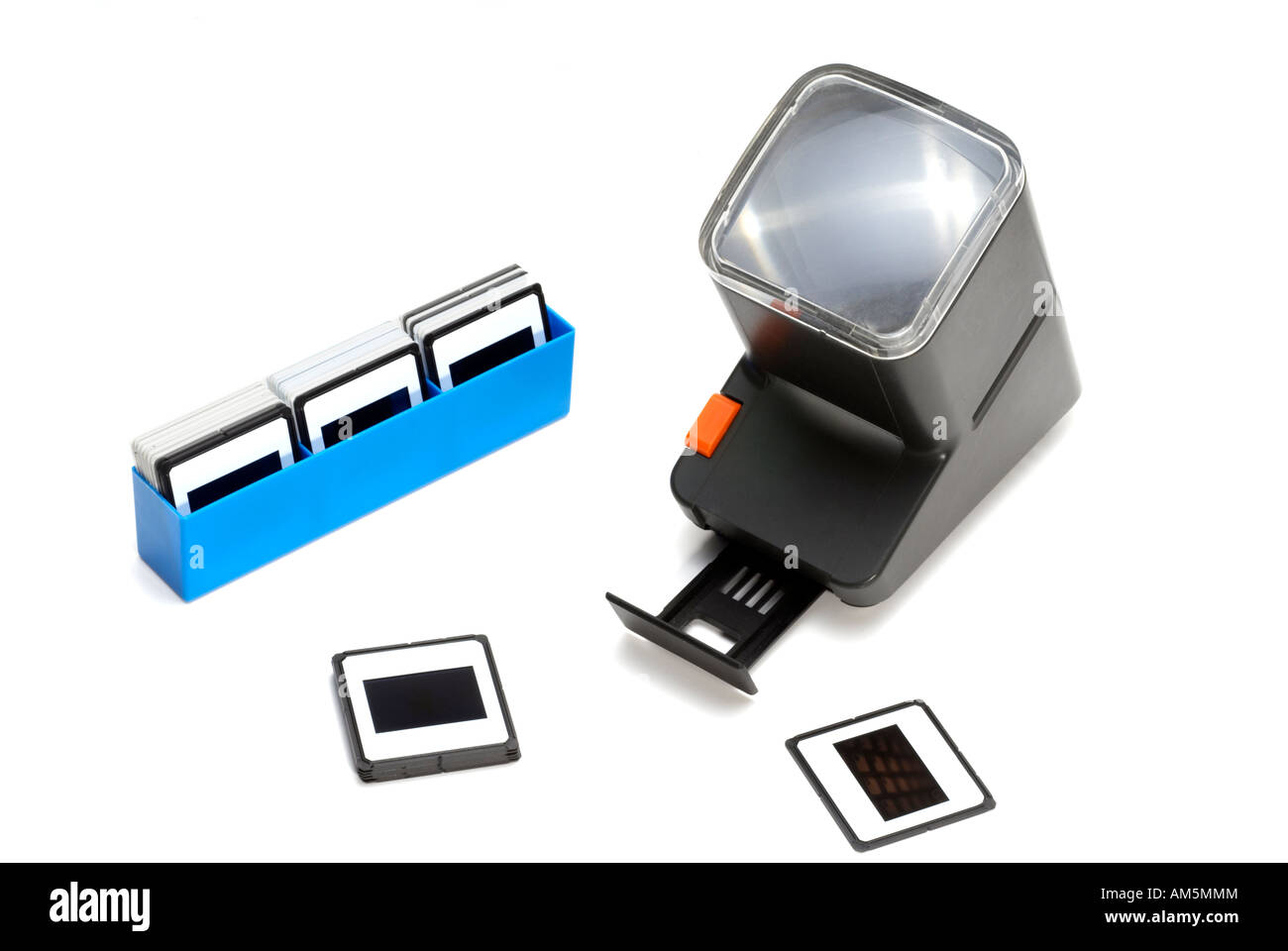 'Battery operated' portable viewer and photographic transparencies - Stock Image
