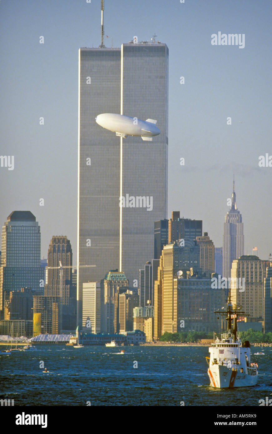 World Trade Towers with Good Year Blimp in foreground New York City NY - Stock Image