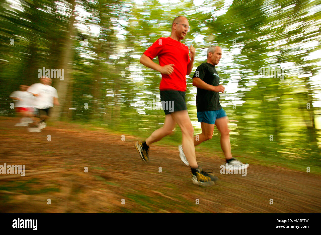 Runners in the forest - Stock Image