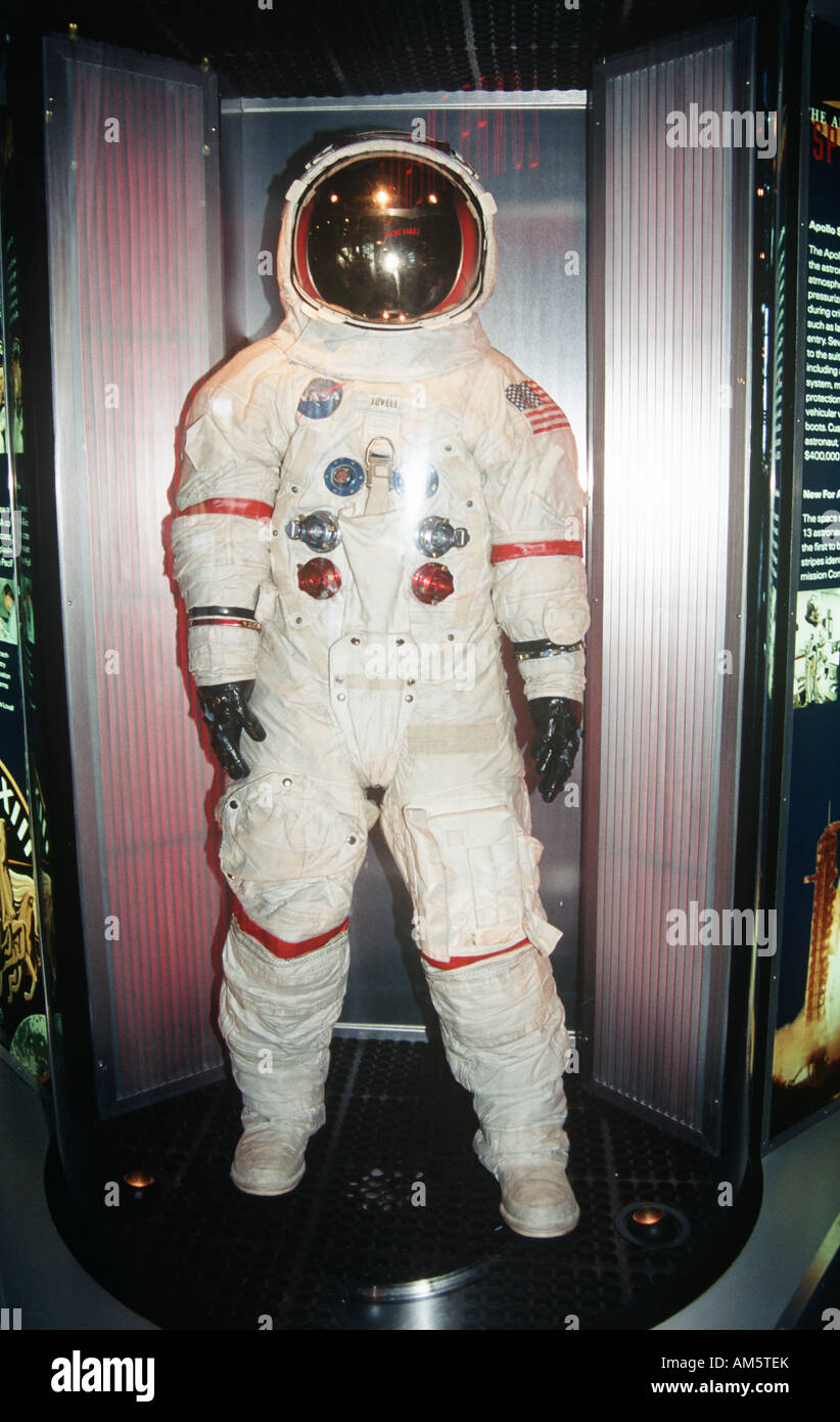 James Lovell space suit, John F Kennedy Space Center, Cape Canaveral, Brevard County, Florida, USA - Stock Image