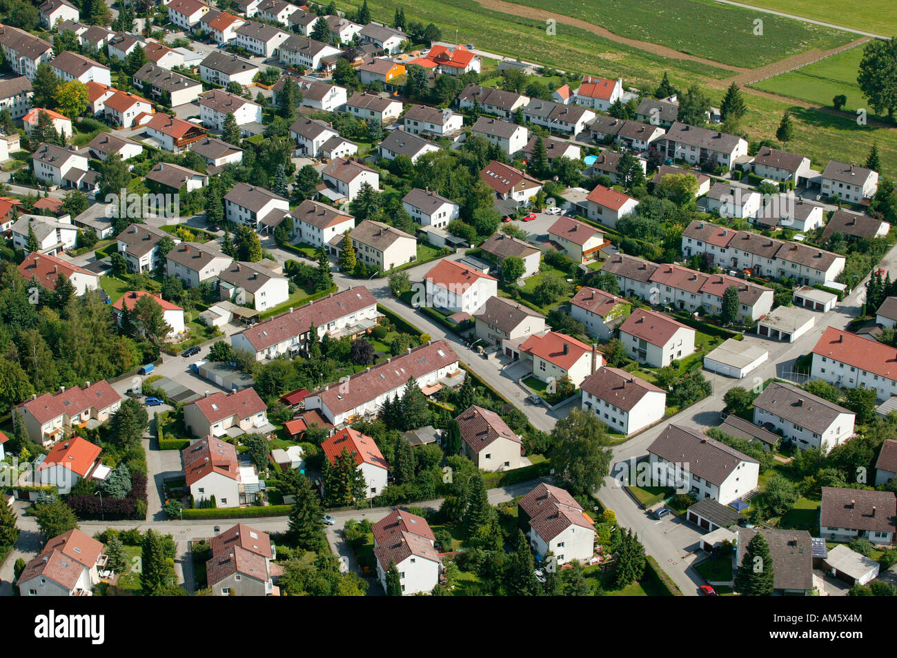 New housing estate, Lower Bavaria, Bavaria, Germany Stock Photo