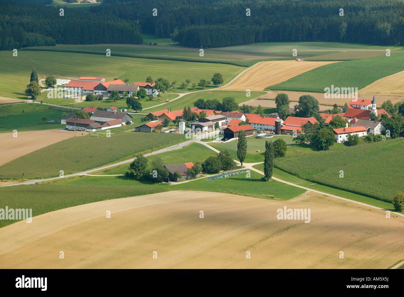 Rural settlement in agrarian landscape, Lower Bavaria, Bavaria, Germany Stock Photo