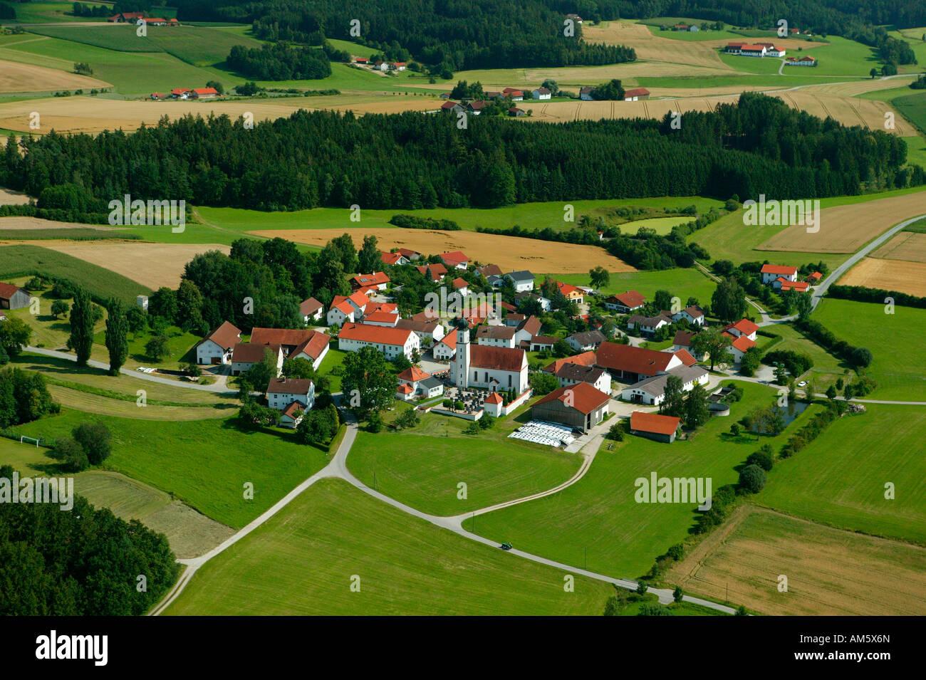 Spoiled hill landscape, Lower Bavaria, Bavaria, Germany - Stock Image
