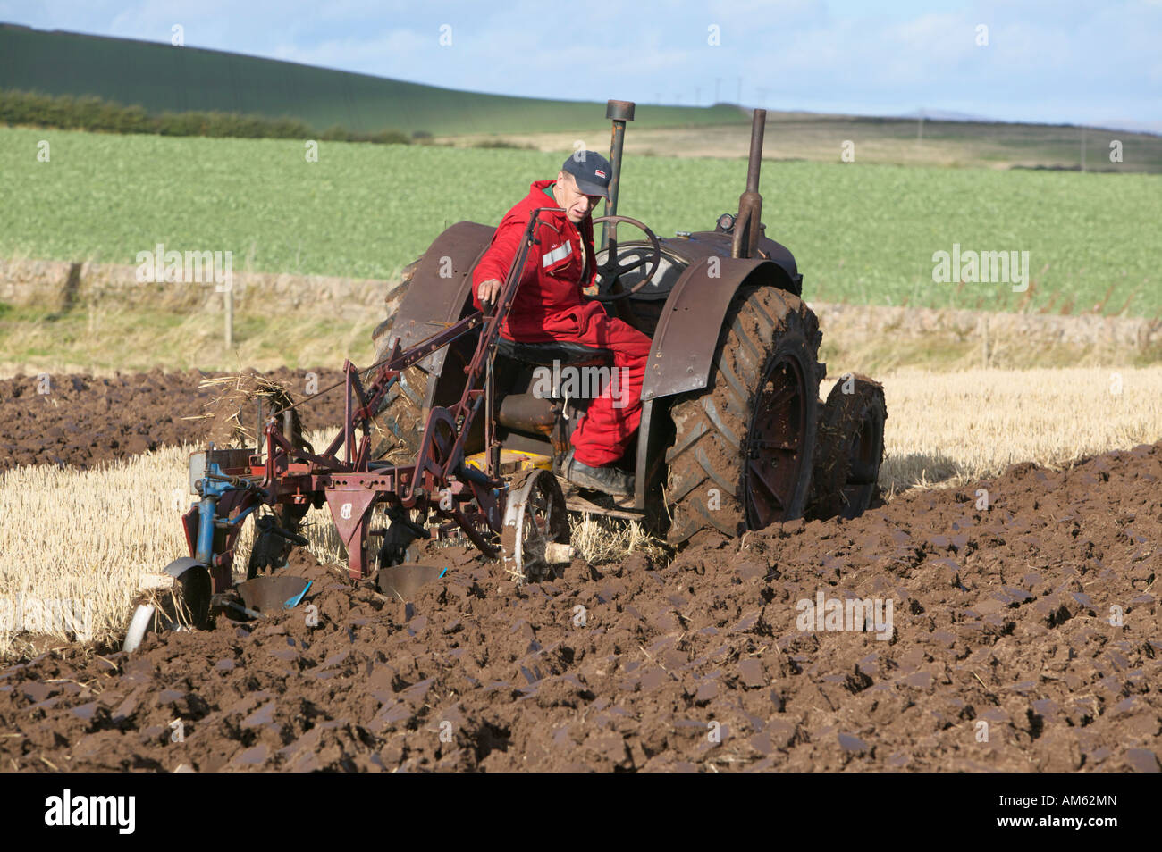 Tractor Ploughing At The 2007 Scottish Ploughing Championships Held Stock Photo Alamy