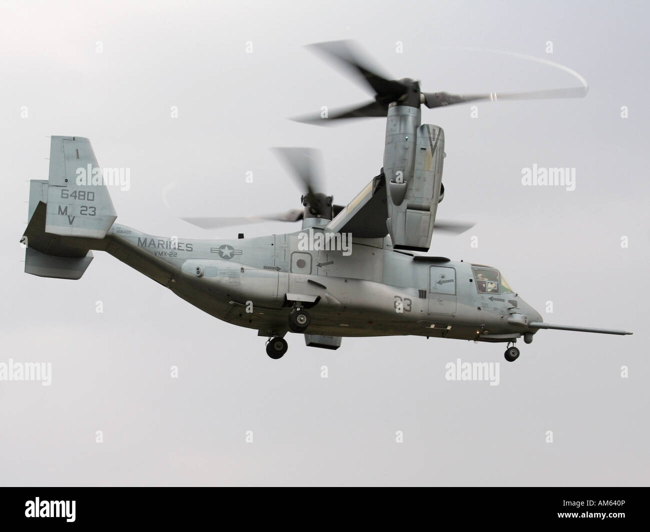 Bell-Boeing MV-22B Osprey tilt rotor aircraft of the US Marines in hover mode with engines rotated upwards - Stock Image