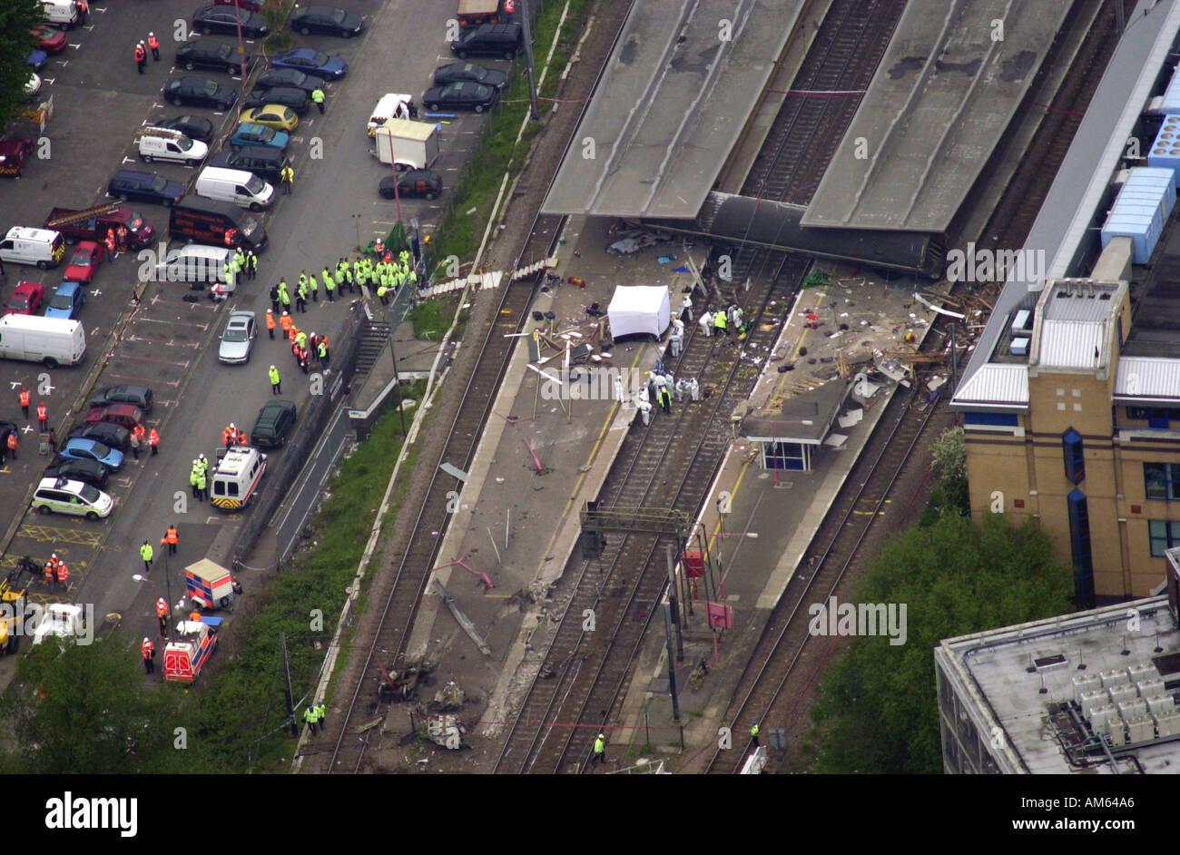 Potters Bar train crash Aerial view Hertfordshire UK - Stock Image