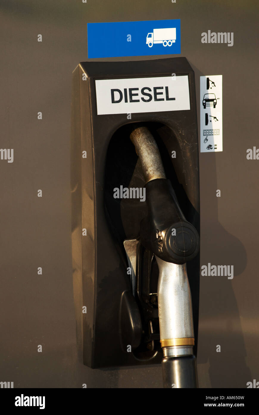 Diesel petrol pump at gas station - Stock Image