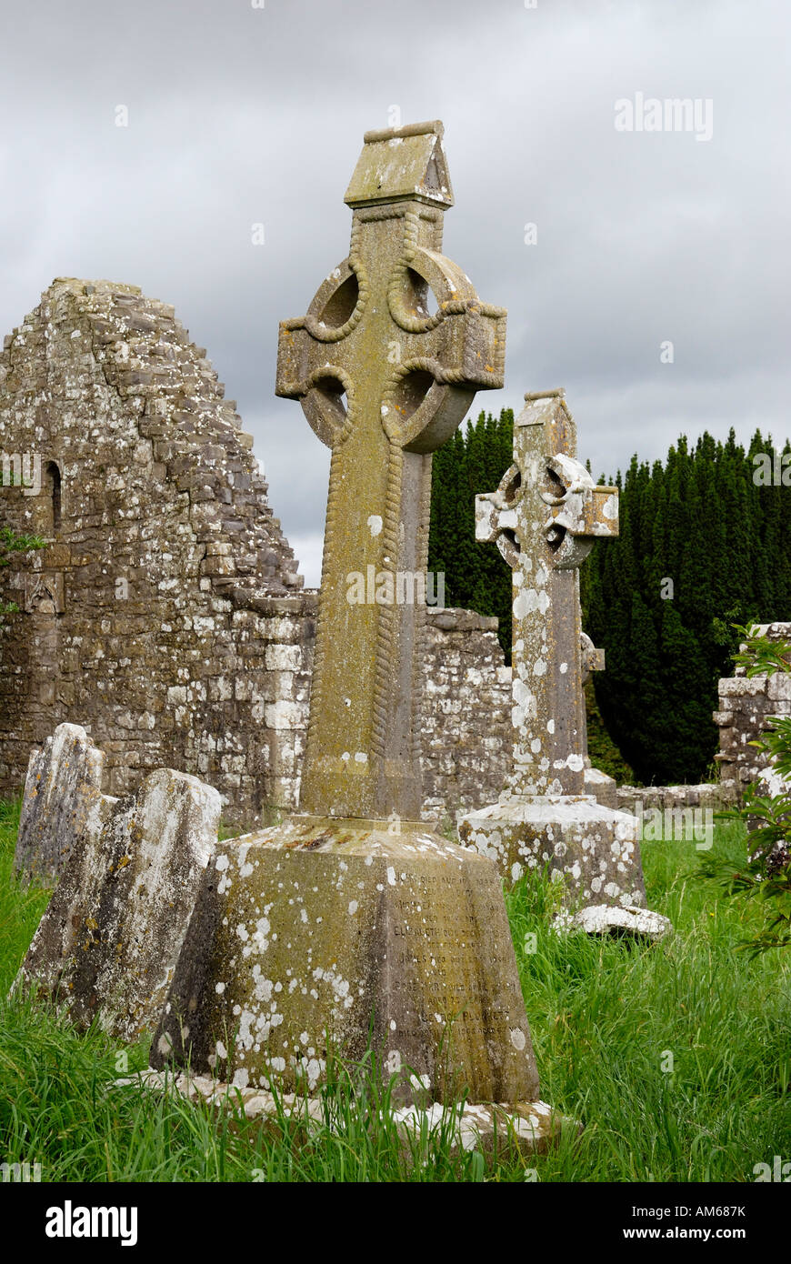 Inclined celtic style highcrosses mounted on remains of old monastary near Slim Co Meath Ireland Stock Photo