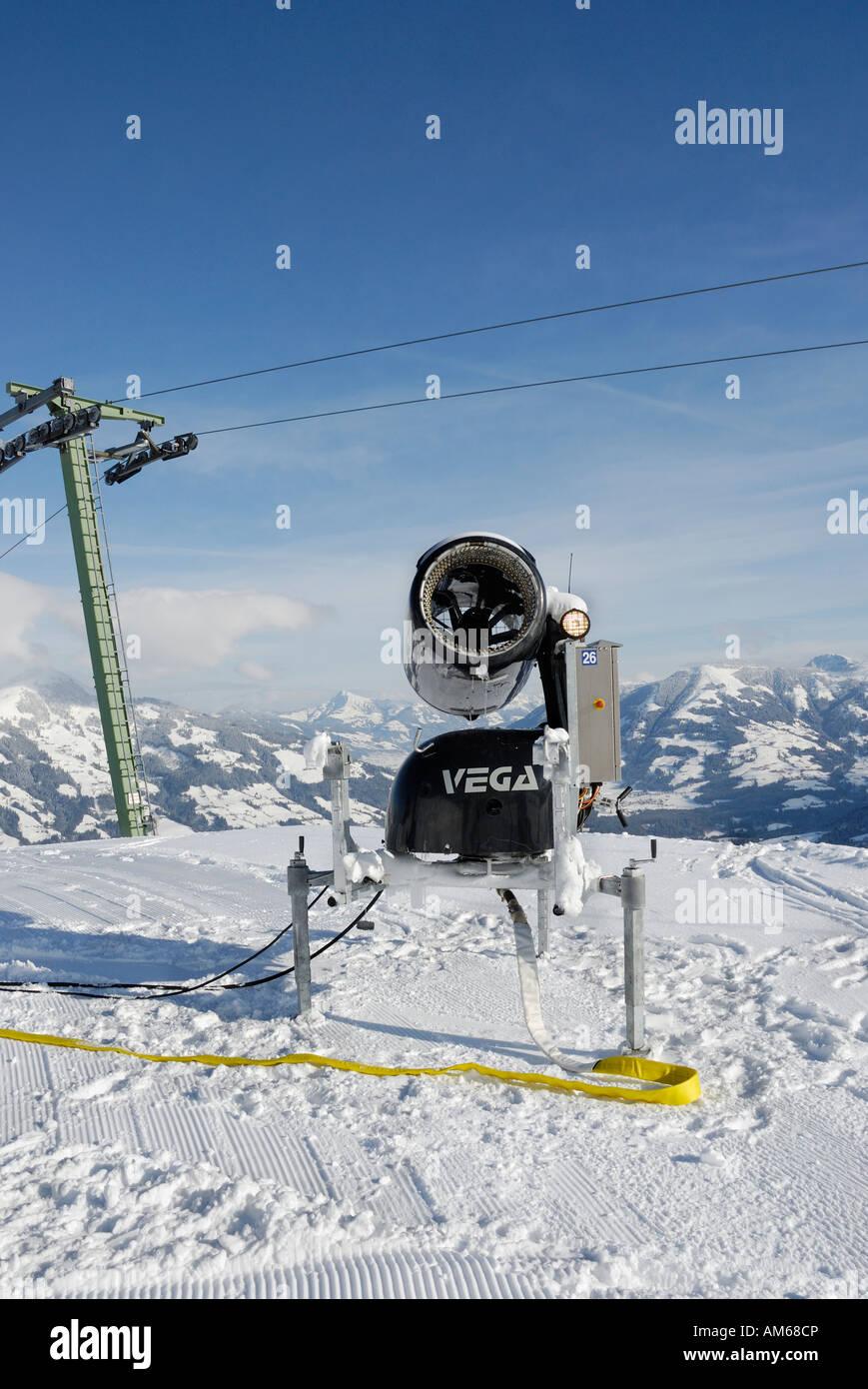 Radio controlled snow machine in Marchbach Joch ski resort, Wildschoenau Austria - Stock Image