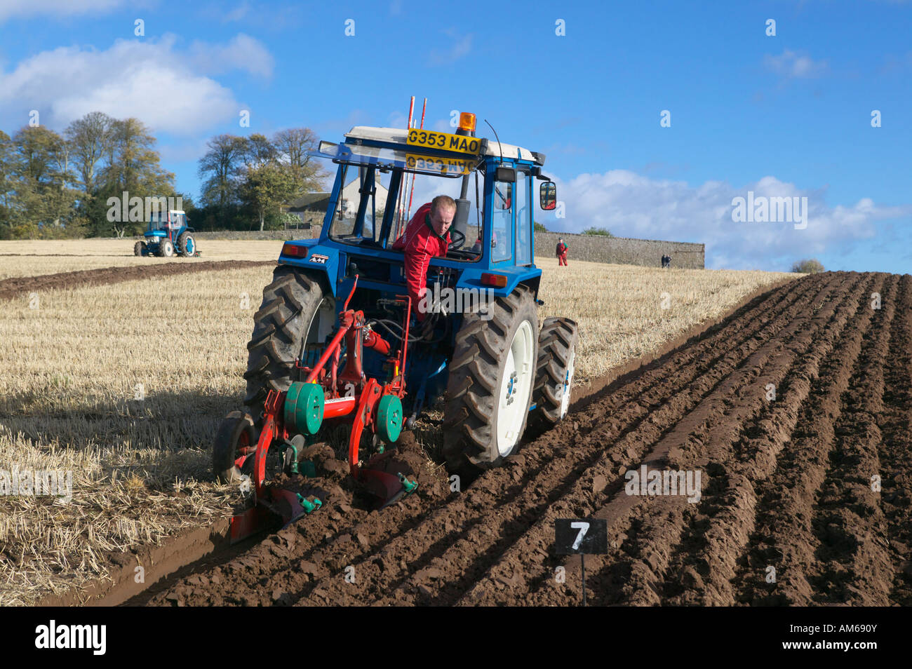 Tractor and plough at the 2007 Scottish Ploughing Championships held at  Pusk Farm, Balmullo,