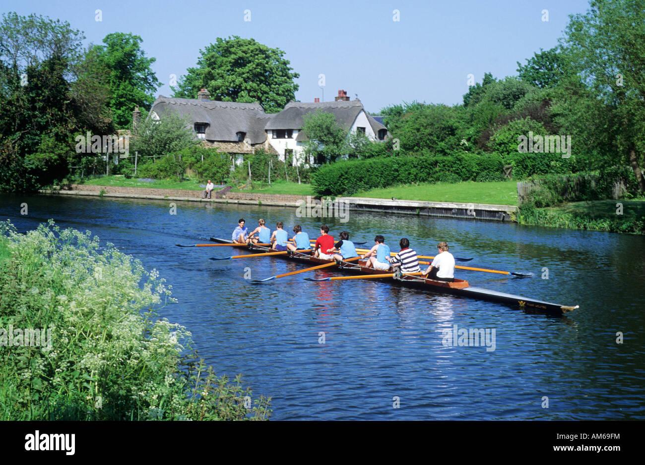 Rowing eight River Cam Fen Ditton Cambridge Stock Photo