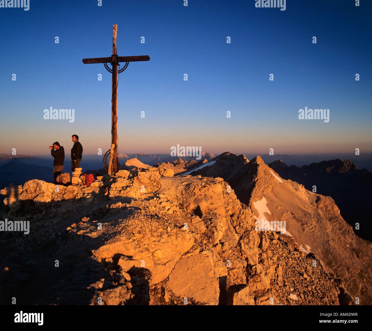 Birkkarspitze, sunrise, Vomper-Kette, Karwendel, Tyrol, Austria Stock Photo