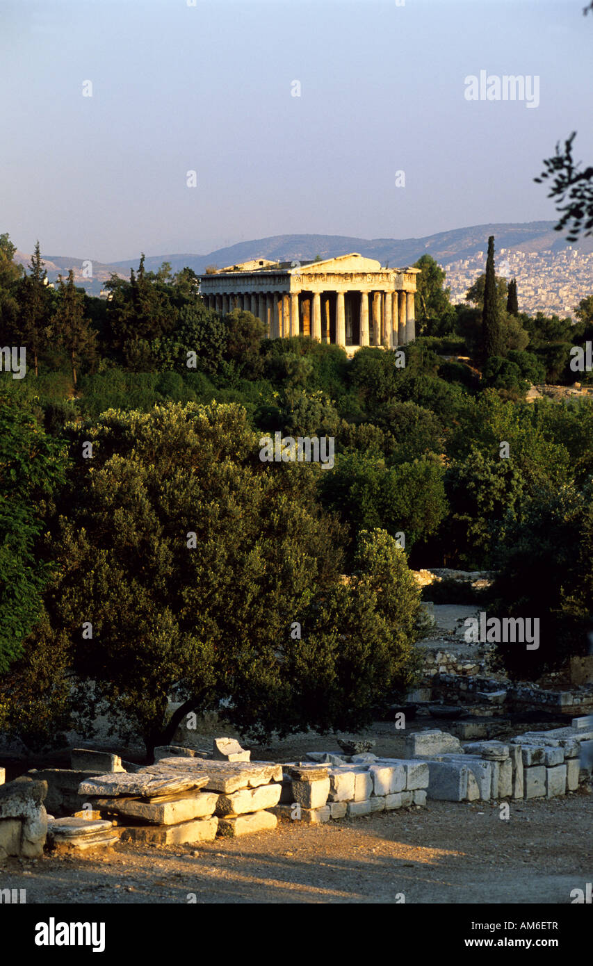 Greece, Athens, the Theseion (a 5th century BC doric temple) and the Agora in foreground - Stock Image