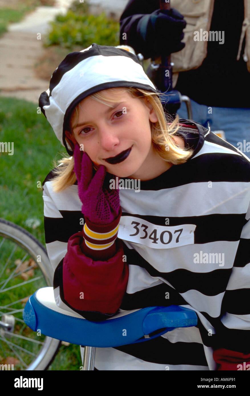 Anoka Halloween Parade 2020 Footage Girl age 14 in prisoner costume at Anoka Halloween Festival Parade