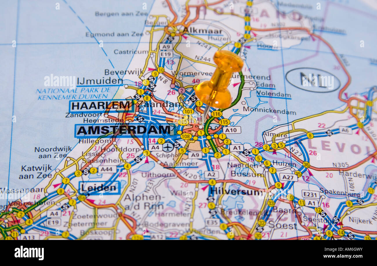Cartina Amsterdam Download.Map Of City Of Amsterdam With Map Pin Stock Photo 15165110 Alamy