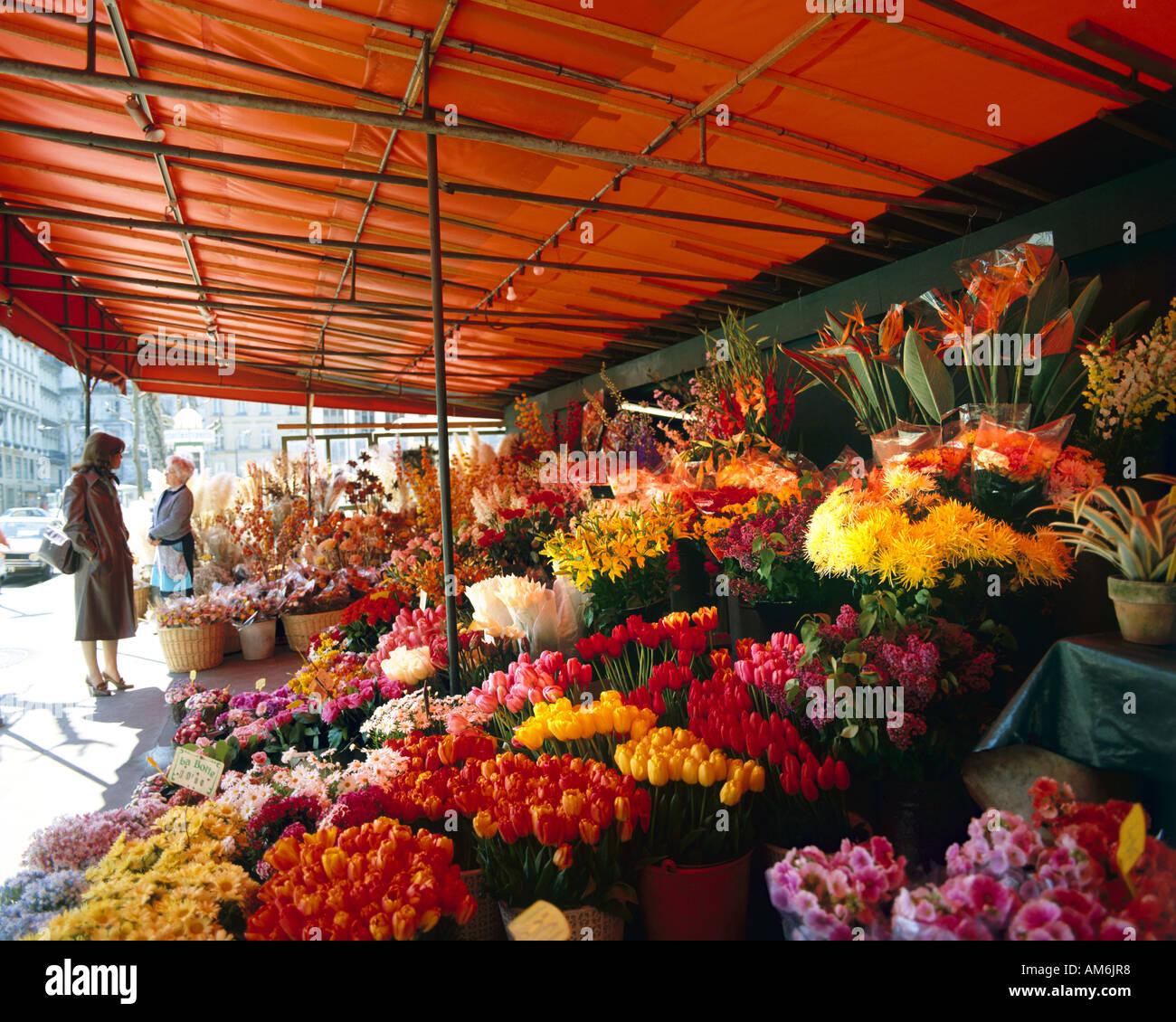 FR - PARIS:  Madelaine Flower Market - Stock Image