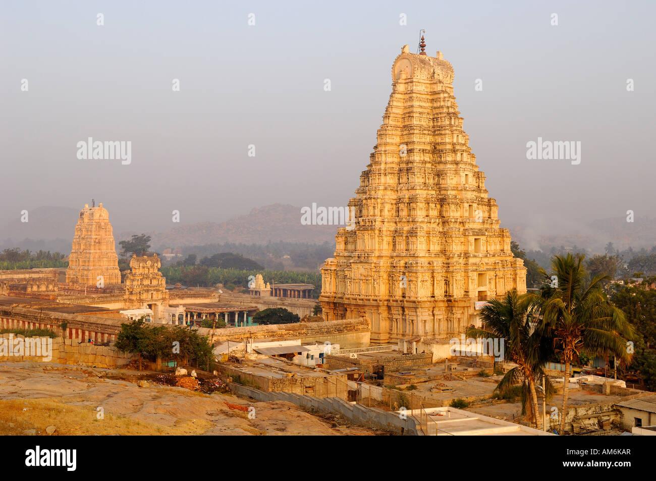 India, Karnataka, Hampi, Virupaksha Temple, one of the