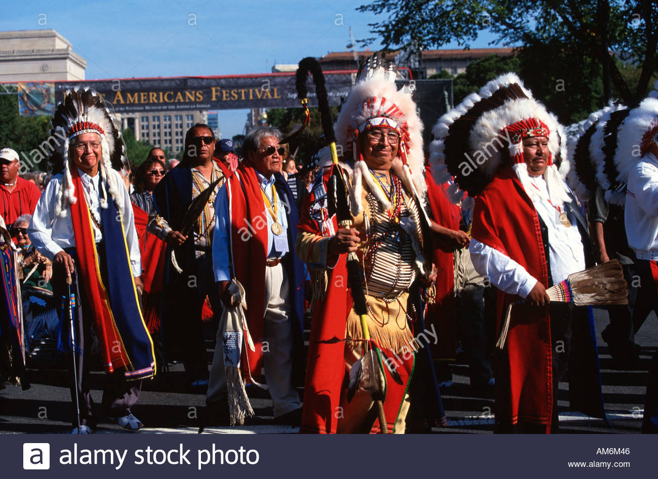 Native Americans march in the Native Nations Procession - Stock Image