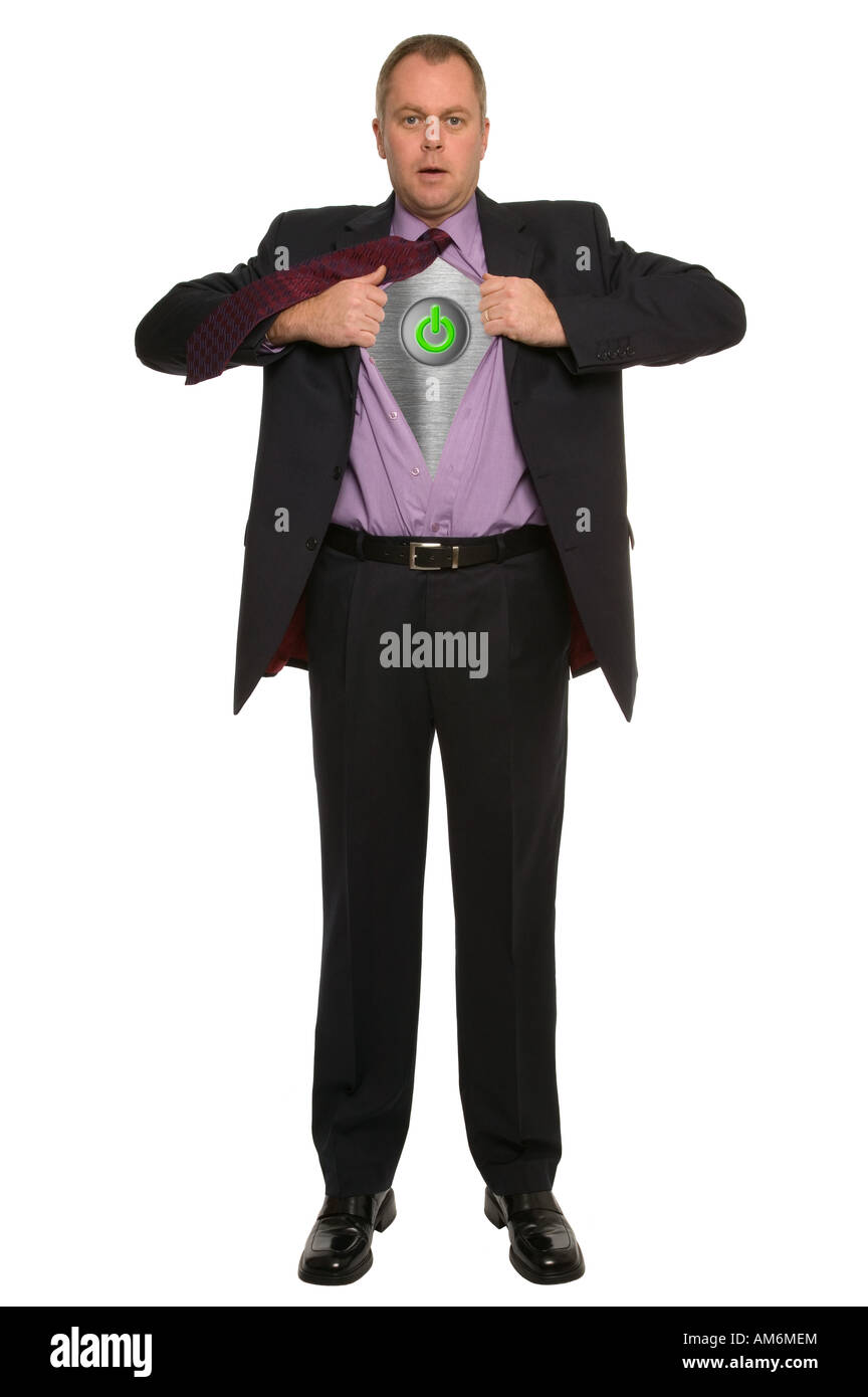 Conceptual image of a businessman pulling his shirt open to reveal an on off switch - Stock Image